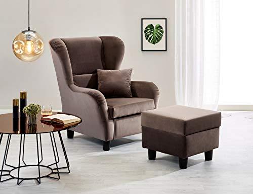 lifestyle4living Ohrensessel mit Hocker in braunem Samt bezogen | Der perfekte Sessel für entspannte, Lange Fernseh- und Leseabende. Abschalten und genießen!