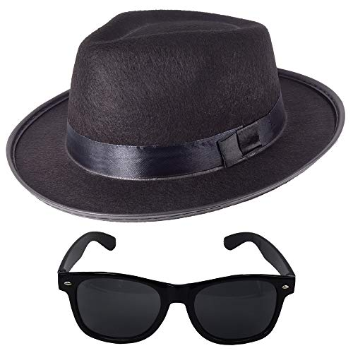 Kostüm Sänger Blues - German Trendseller® 6X Blues Brothers - Set - Schwarz - Deluxe -┃ Filz Hut + Sonnenbrille ┃ Sänger ┃ Karneval -Fasching ┃ 6X Brothers of Blues - Set