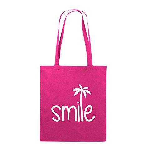 Comedy Bags - smile - PALME - Jutebeutel - lange Henkel - 38x42cm - Farbe: Schwarz / Pink Pink / Weiss