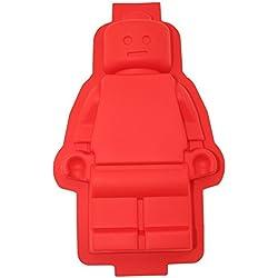 ShineVGift Gran molde de la torta de Lego Figura Robot Lego de silicona para los amantes del color rojo