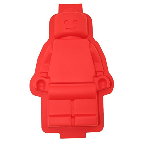 ShineVGift 1 Large Lego Robot Silicone Cake Mould for Lego Lovers Red Colour (Lego-form Groß)