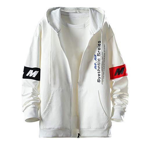 iHAZA Herren ModeBeiläufigDrucken Patchwork Kapuzenpullover Lange Ärmel Sweatshirt Mantel(Weiß,3XL) -
