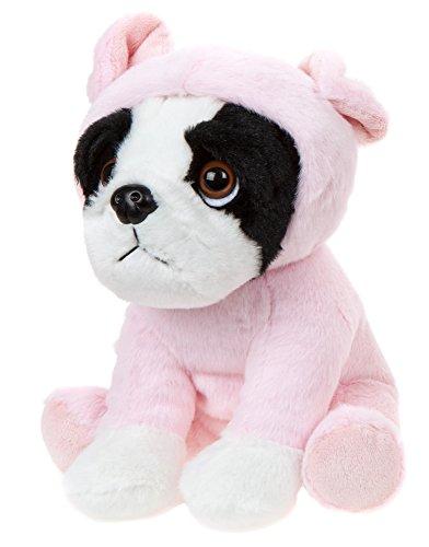 Hund Französische Bulldogge Angezogen mit Ferkelkostüm, Kuscheltier Hund ca. 20 cm (Kleine Schweinchen Kostüm)