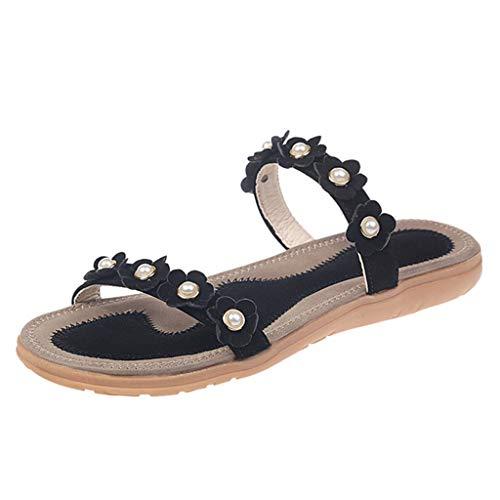 VECDY Damen Sandalen Herren Schuhe Sommer Slip-On Flache Blume Open Toe Atmungsaktive Sandalen Bohemia Schuhe Mode Hausschuhe 35-42