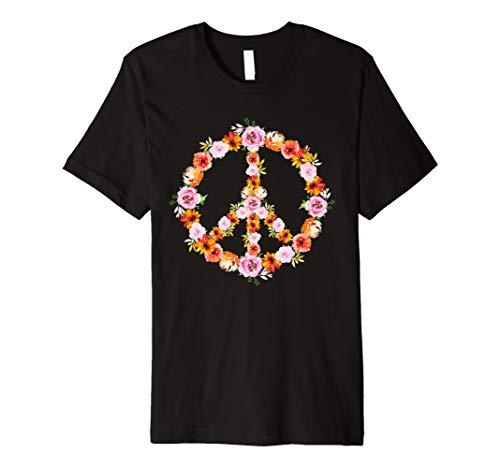 Retro Pastellblumen-T-Stück - Blumen-Garten-Friedenszeichen