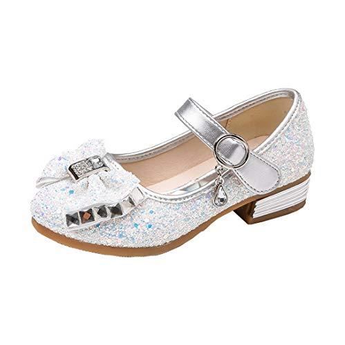 Restbuy scarpe da principessa scarpe da festa glitter scarpe da ballo bowknot scarpe da festa con tacchi bassi per ragazze