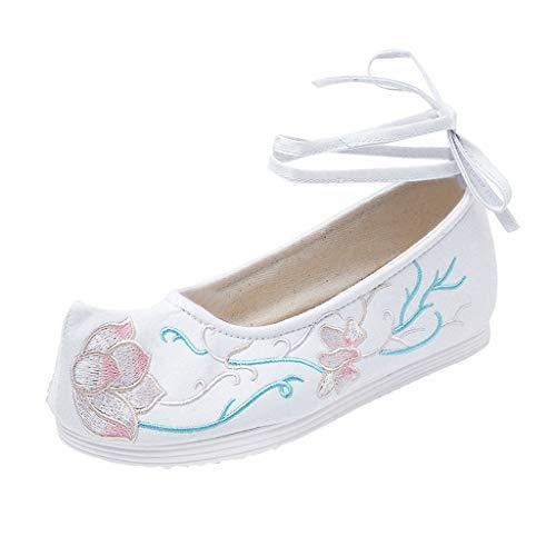 Bluestercool Scarpe da Donna Ricamate Estate Cinturino alla Caviglia Allacciato Flat Shallow Scarpe Casual Eleganti Donna Scarpe