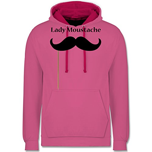 Hipster - Lady Moustache - Kontrast Hoodie Rosa/Fuchsia
