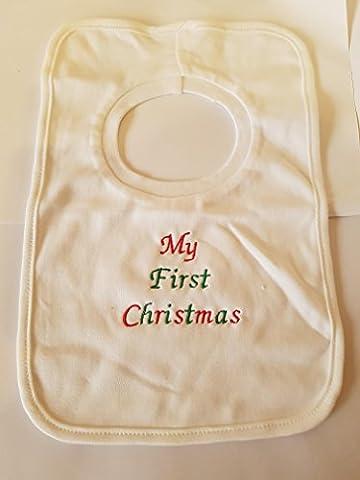 personalisierbar Lätzchen–My First Christmas–wunderschön bestickt (kein Aufkleber)