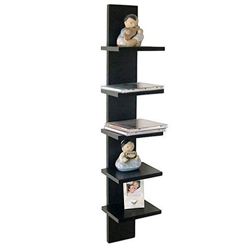 DecorNation Wall Mount 5-tier Spine Floating Decorative Shelving Set - Black