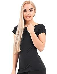 6adf8b7362 Crazy Chick Womens Slash Neck Black Viscose Top T Shirt Ladies Short Sleeve  Fancy Dress Tees