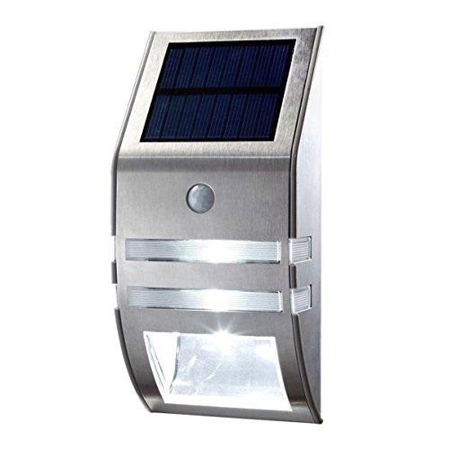 Sensore di movimento in acciaio inox wallwhite luce LED per esterni a energia solare da giardino