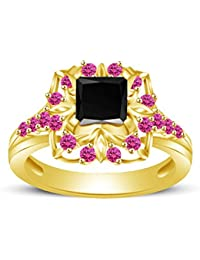 Atjewels Princess & Round Cut Black Cubic Zirconia & Pink Sapphire 14k Yellow Gold Over .925 Sterling Silver Engagement...