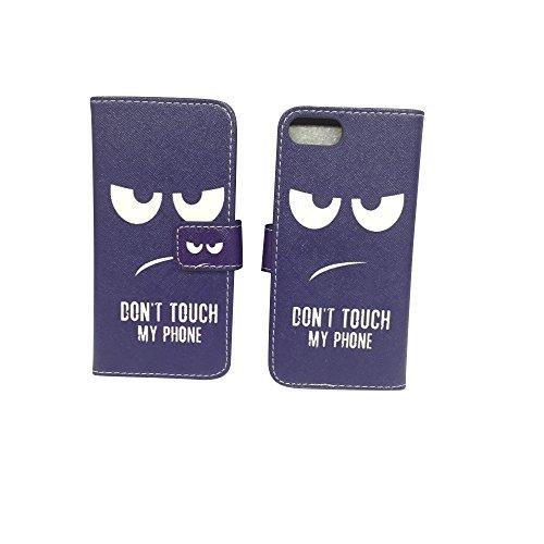 König-Shop - Handyhülle Schutz Tasche Case Cover Wallet Kunstleder 360 Grad Standfunktion, Farbe:Marshmallows, Größe:Apple iPhone 7 Don't touch my Phone Blau
