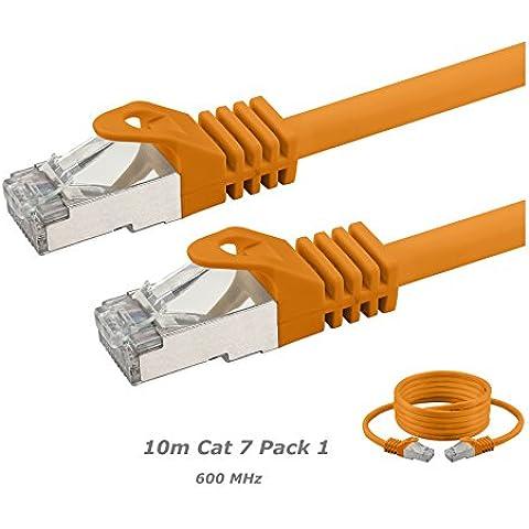Cable de conexión, Cat, 7, S/FTP, PiMF, sin halógenos, 600MHz para Streaming/IPTV/reproductores de medios/receptores de satélite/servidores/Desktops PC/Super Fast Ethernet de red Cable con oro Pin Conectores