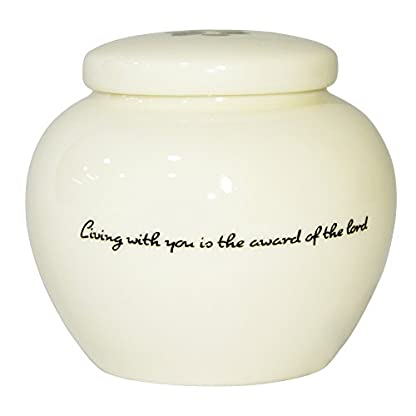 Homelix White Pet Cremation Urn Ceramics Memorial Urn For Cat Dogs Ashes (Pet urns-05) 4