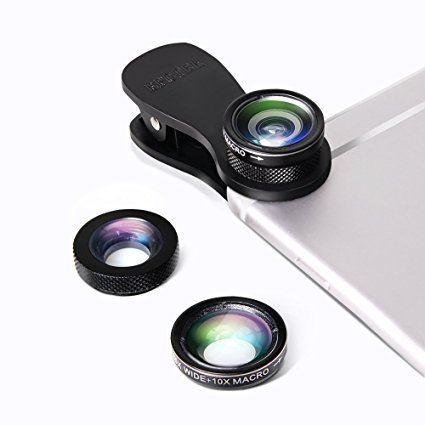 EPCTEK 3 in 1 Clip-On 180 Grad Fisheye Supreme + 0.65X Weitwinkel + 10X Makro-Objektiv für iPhone 7/7S 6S/6 Plus iPhone 5 5S 4 4S Samsung HTC Huawei