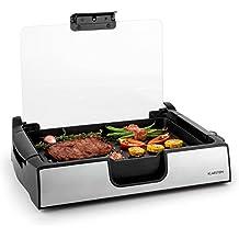 Klarstein Showmaster parrilla de sobremesa (asador de mesa, 1.500 W, hasta 250°C, antiadherente, acero inoxidable, cristal de seguridad) - plateado y negro