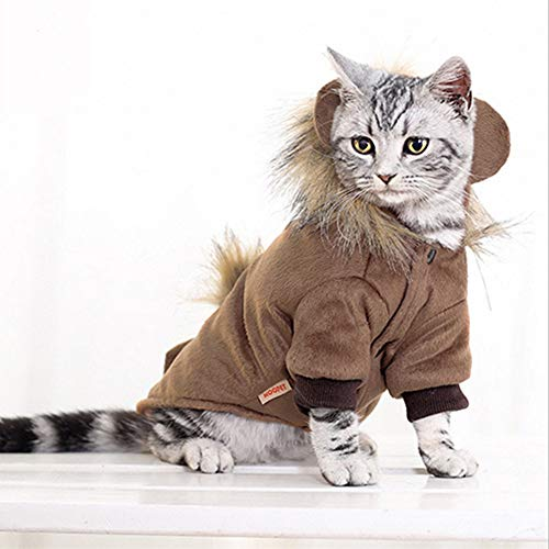 Katze Hund Lion Mähne Perücke Haustier Winter Kleidung Kostüme mit Ohr und Schwanz, perfekte Kostüm für Katze und Kleinen Hund in Halloween, Weihnachten