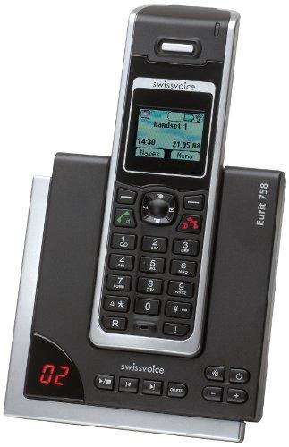Swissvoice Eurit 758 Schnurloses ISDN-Telefon (DECT) mit optischer Anrufsignalisierung und Anrufbeantworter im FullEco-Mode