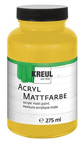 Kreul 75030 - Acryl Mattfarbe, für groß Anmalprojekte wie Tische, Stühle, Kommoden und Holzschränke, cremig deckende, schnelltrocknende Farbe auf Wasserbasis, 275 ml Kunststoffglas, gold