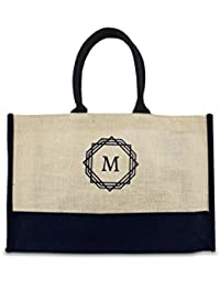 Dote Twine Initials Printed Premium Jute Tote Bag Ideal For Office, Shopping, Lunch Bag, Multipurpose Bag