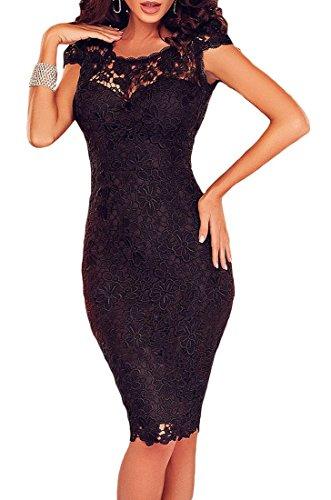 MYWY - abito donna vestito donna abito sexy vestito da sera party abito aperto vestiro pizzo Nero