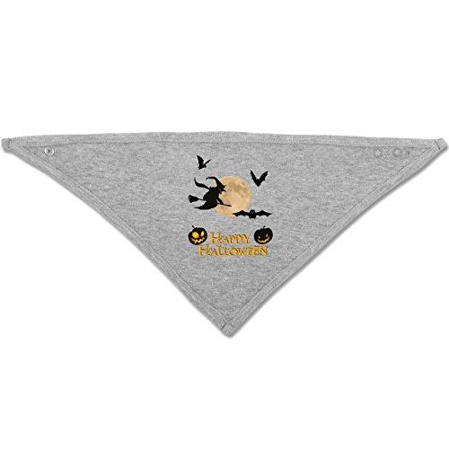 Anlässe Baby - Happy Halloween Mond Hexe - Unisize - Grau meliert - BZ23 - Baby-Halstuch als Geschenk-Idee für Mädchen und Jungen (Hexe Besen Flamme)