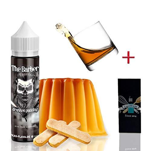 Kapas Flava - The Barber Drunken Pudding 20ml Longfill Aroma + 1x Liquidküche Akku Sleeve Nikotinfrei | zum Mischen von Liquid für EZigaretten | Akkuschlauch Schutzhülle für deine Akkus | Nikotinfrei