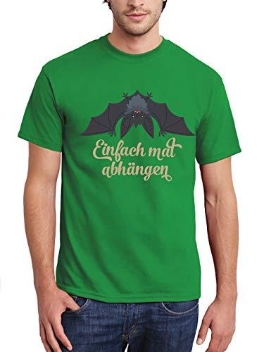 (clothinx Herren T-Shirt Halloween Grusel Fledermaus Einfach Mal Abhängen Grün Gr. L)