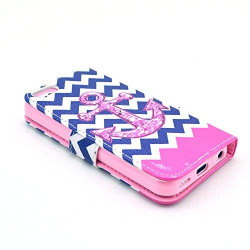MOONCASE iPhone 5C Case Motif Conception Coque en Cuir Portefeuille Housse de Protection Étui à rabat Case pour iPhone 5C P25