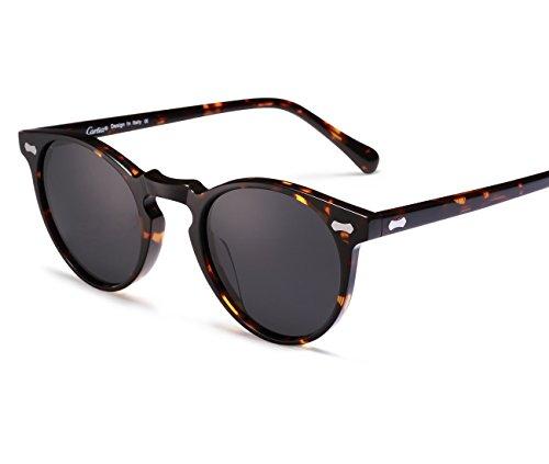 Carfia Retro Runde Sonnenbrille Outdoor Polarisierte Sonnenbrille für Damen Herren, 100% UV 400 Schutz (Rahmen: Schildpatt; Linsen: Grau)