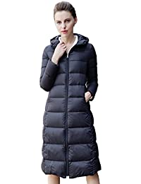 Queenshiny thick Long to knee Women's Down Coat hooded Goose down filling winter uk size from 8--14