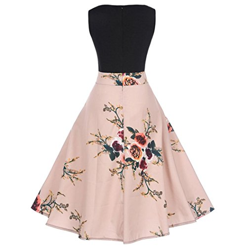 Women Dress,FeiXiang Vintage Floral Print Bodycon Sleeveless O-Neck Pleated Elegant Evening Party Dress Spring Dress (Small, Pink)