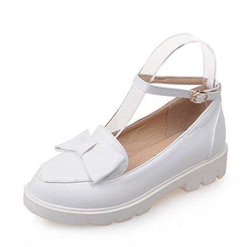 Dame de chaussures plates légères au printemps/Un talon plat de proue boucle bout rond/Chaussures basses étudiant B