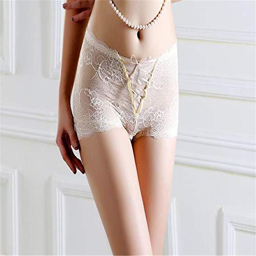 GAOQIANGFENG Frauen Sexy Lace Panty Briefs Damen Panties Sexy Spitzen Slip, attraktiv, hohe Taille, transparente Hüfte, Bauch, Damen Unterhosen und Slips, XL, weiß