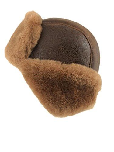 Zavelio Shearling Sheepskin Aviator Russian Leather Bomber Hat