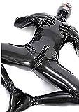 BOYH Uomini Sexy Wet Look DS Stage Catsuit Abbigliamento Prigioniero Tute in Pelle Verniciata Cosplay Guanti Maschera Tuta,XL