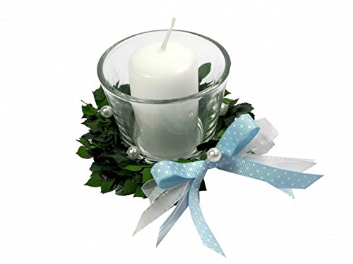 4er SET Kerze Votivglas Kerzenring Hellblau Junge Kommunion Taufe Tischdeko Geburt Kerzendeko - 3