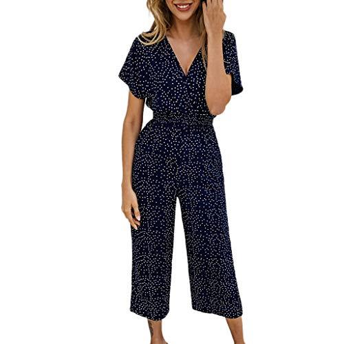 TianWlio Frauen Sommer Taschen V-Ausschnitt Kurzarm Dot Drucken Strampler Jumpsuit Playsuit Marine S