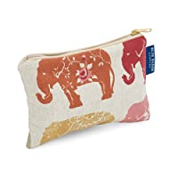 Blue Badge Company Padded Cotton Zip Up Cosmetic Purse with Waterproof Lining, Small Indian Elephant Print