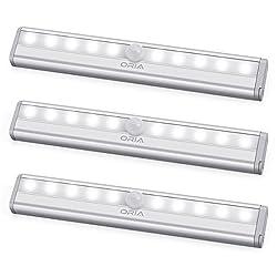 ORIA Schrankbeleuchtung Licht, 3er Pack Nachtlicht mit Bewegungsmelder Sensor Schrank Licht, Schranklampe mit 10 LED und Magnetstreifen, Auto ON/OFF Licht für Küche,Korridor - Weiße