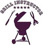 Samunshi® Wandaufkleber 'Grill Instructor' 5 Sterne Wandaufkleber in 3 Größen und 19 Farben (28x30cm aubergine)
