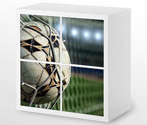Set Möbelaufkleber für Ikea Kallax 4 Fächer/Schubladen Fussball Netz Ball Kat8 Fußball Tor Goal Aufkleber Möbelfolie sticker (Ohne Möbel) Folie 25H644