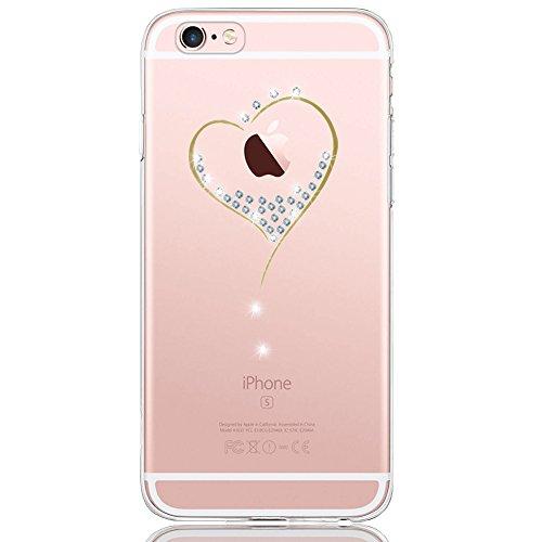 DAPP® iPhone 6 / 6S Hülle, Dolce Vita Serie Transparente Silikon Handyhülle für Damen/Mädchen, Durchsichtig mit Glitzer Kristall Herz Motiv