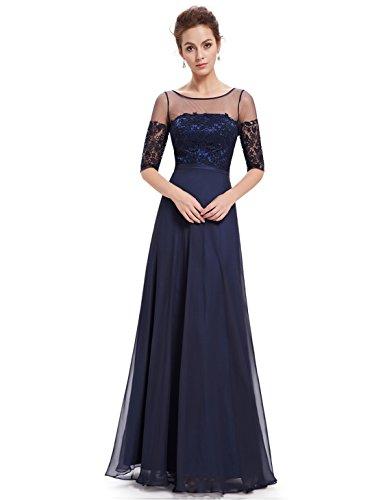 Ever Pretty Lace Halbtransparent V-Ausschnitt 1/2 Aermel Lang Chiffon Abendkleid 08459 Marineblau