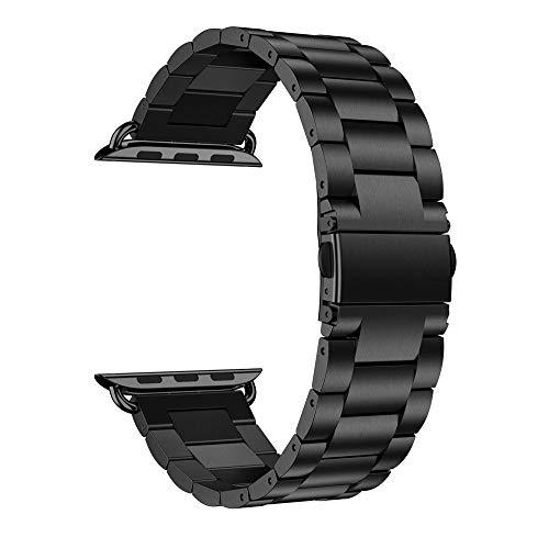 TianranRT Edelstahl Watch Band Ersatz Durst Riemen für Apple Watch Serie 4 44 mm (Schwarz) (Ipod Apple Band Watch)