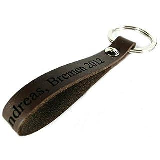 Area17 Leder Schlüsselanhänger Keyholder 8 cm braun - mit Wunsch Gravur