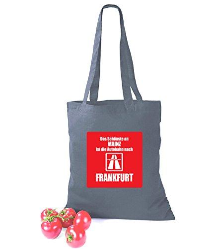 Artdiktat Baumwolltasche Das Schönste an Mainz ist die Autobahn nach Frankfurt sunflower grau