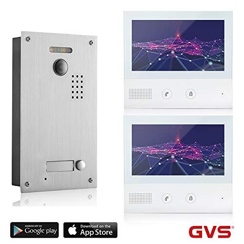 GVS 2-Draht/IP Video Türsprechanlage, 1 Familienhaus Set, Handy-App, 2X 7 Zoll Monitor, Tür-Öffner, Foto-/Video-Speicher, Türstation, 2 MP Kamera, 170° Erfassungswinkel, AVS7038-7071-12